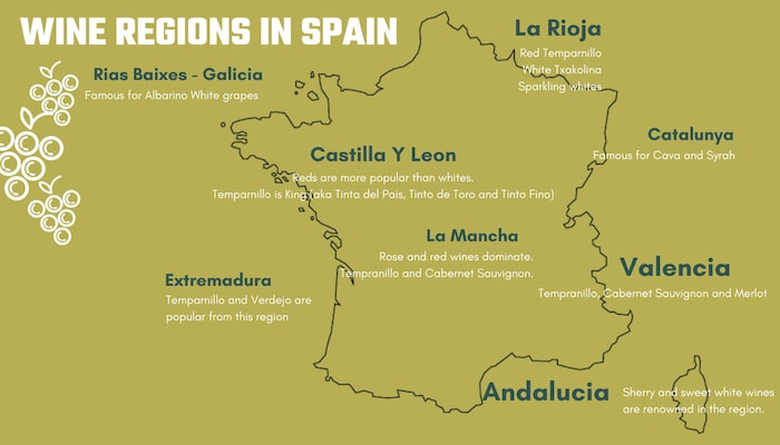 Map Of Spain Valencia Region.Spanish Grapes Wine Regions Of Spain Orchards Near Me